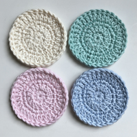 Crochet Face Scrubbies x 4 (pastel colours)