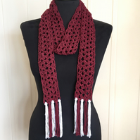 Recycled Cotton Lacy Crochet Tassel Scarf (burgundy)