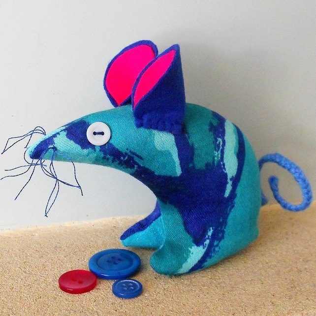 SALE Retro Mouse - Vintage blue atomic 50s 60s fabric