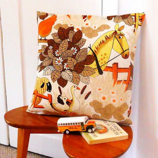Retro Cushion Cover - Farm  or Jungle 70s Vintage Fabric