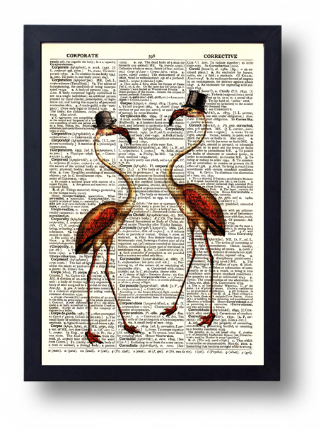 Original Art Print Vintage Dictionary Book Page Pink Flamingo and Hats Steampunk