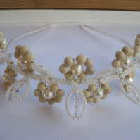 Tiara 'Daisy Chain'. Jasper, Swarovski crystals and freshwater pearls. Clearance