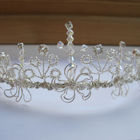 Tiara 'Caterbury'. Swarovski crystals, silver wire flowers and diamanté.