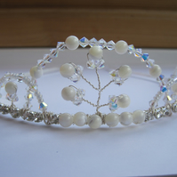 Tiara 'St. Paul's'. Swarovski crystals, Mother of Pearl beads and diamanté.