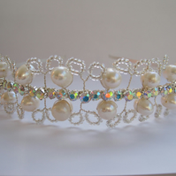 Tiara 'Petal'. Freshwater pearls and diamanté.