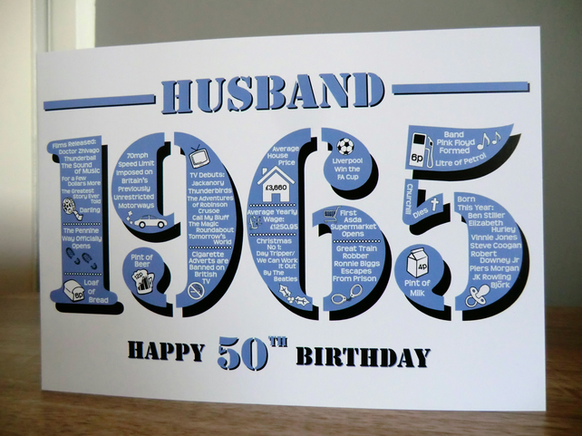 Happy 50th Birthday Husband Card