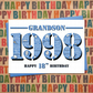 Happy 18th Birthday Grandson Greetings Card - Year of Birth - Born in 1998 Facts