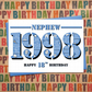 Happy 18th Birthday Nephew Greetings Card - Year of Birth - Born in 1998 Facts