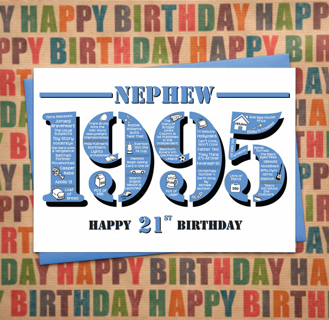 Happy 21st Birthday Nephew Greetings Card