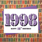 Happy 18th Birthday Female Womens Greetings Card - Year of Birth Born 1998 Facts