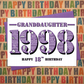 Happy 18th Birthday Granddaughter Year of Birth Greetings Card - Born 1998 Facts