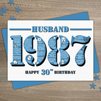 Happy 30th Birthday Husband Greetings Card - Year of Birth - Born in 1987 Facts