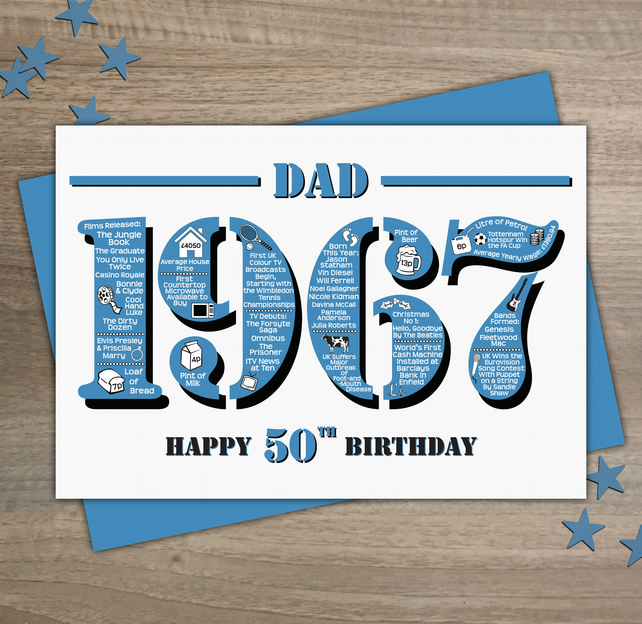 Happy 50th Birthday Dad Greetings Card - Year of Birth - Born in 1967 Facts