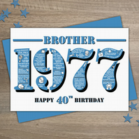 Happy 40th Birthday Brother Greetings Card - Year of Birth - Born in 1977 Facts