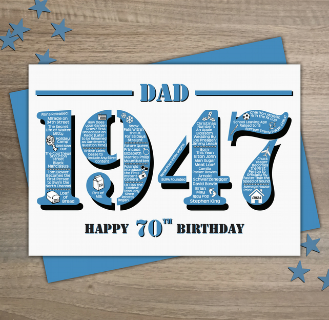 Happy 70th Birthday Dad Year of Birth Greetings Card - Born in 1947 - Facts A5