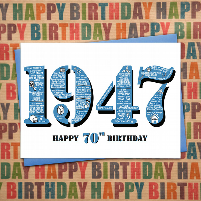 Happy 70th birthday male mens year of birth fac folksy happy 70th birthday male mens year of birth facts greetings card born 1947 bookmarktalkfo Images