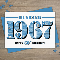 Happy 50th Birthday Husband Greetings Card - Year of Birth - Born in 1967 Facts