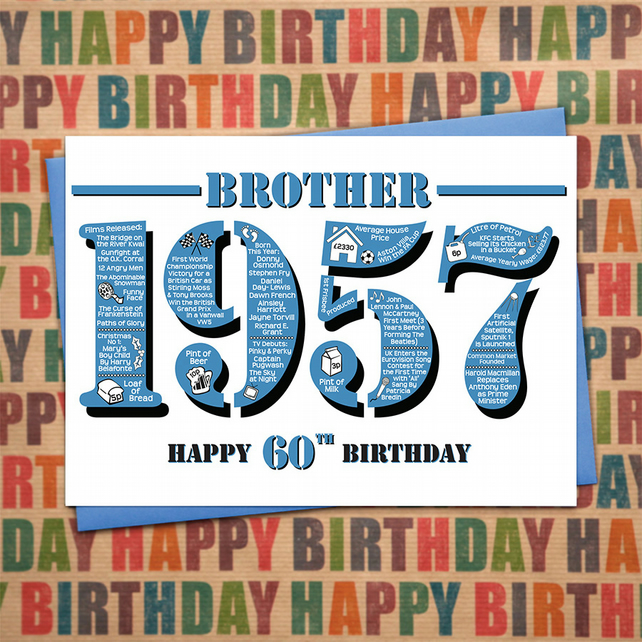 Happy 60th Birthday Brother Year of Birth Greetings Card - Born in 1957 - Facts