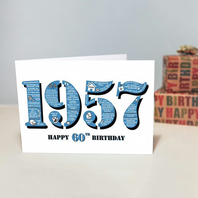 Happy 60th Birthday Mens Male Year of Birth Greetings Card - Born 1957 - Facts