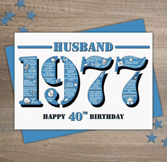 Happy 40th Birthday Husband Greetings Card