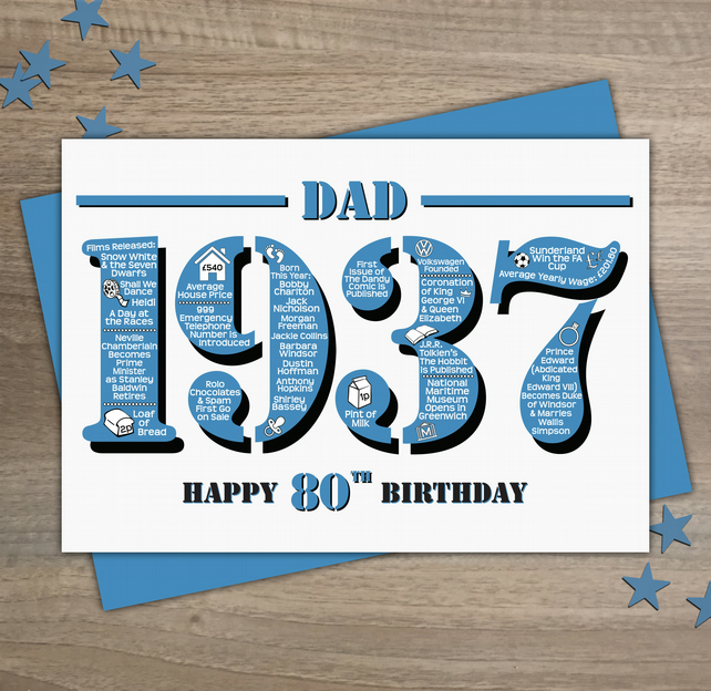 Happy 80th Birthday Dad Year of Birth Greetings Card - Born in 1937 - Facts A5