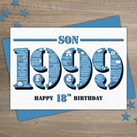 Happy 18th Birthday Son Greetings Card - Year of Birth - Born in 1999 Facts A5