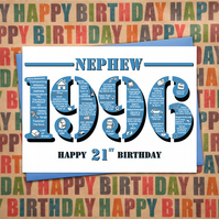 Happy 21st Birthday Nephew Greetings Card - Year of Birth - Born in 1996 Facts