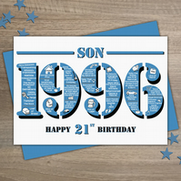 Happy 21st Birthday Son Greetings Card - Year of Birth - Born in 1996 Facts A5