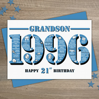 Happy 21st Birthday Grandson Greetings Card - Year of Birth - Born in 1996 Facts