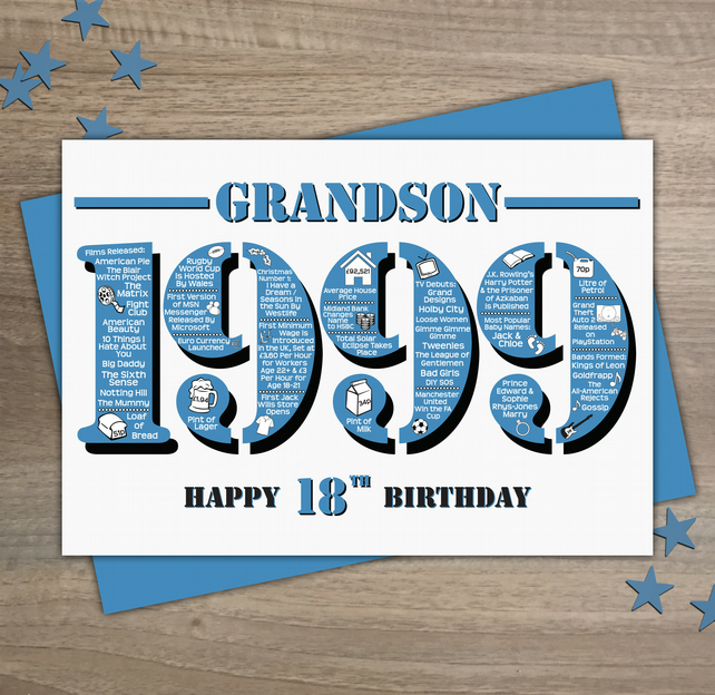 Happy 18th Birthday Grandson Greetings Card