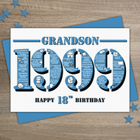 Happy 18th Birthday Grandson Greetings Card - Year of Birth - Born in 1999 Facts