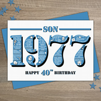 Happy 40th Birthday Son Greetings Card - Year of Birth - Born in 1977 Facts A5
