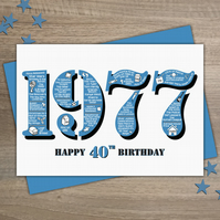 Happy 40th Birthday Male Mens Greetings Card Year of Birth - Born in 1977 Facts