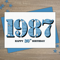 Happy 30th Birthday Male Mens Greetings Card Year of Birth - Born in 1987 Facts