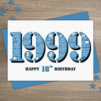 Happy 18th Birthday Male Mens Greetings Card Year of Birth - Born in 1999 Facts