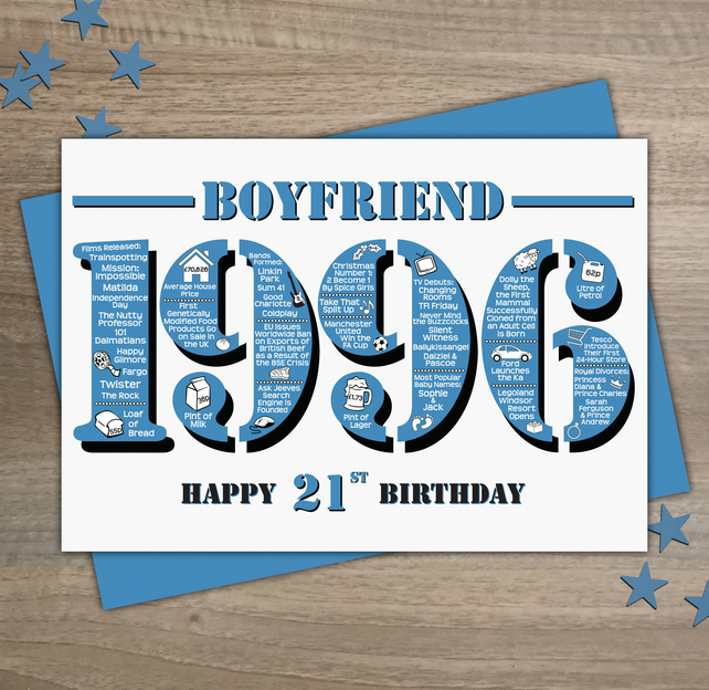 Happy 21st Birthday Boyfriend Greetings Card - Year of Birth - Born 1996 Facts