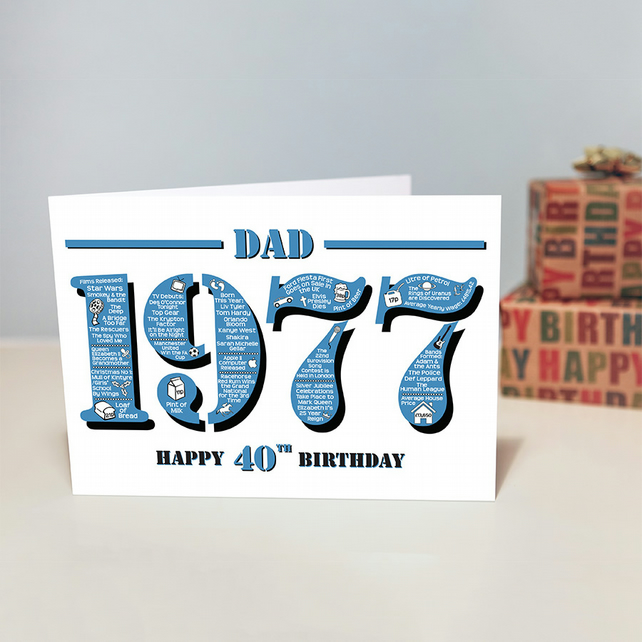 Happy 40th Birthday Dad Greetings Card - Year of Birth - Born in 1977 Facts A5