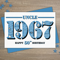 Happy 50th Birthday Uncle Greetings Card - Year of Birth - Born in 1967 Facts A5