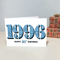 Happy 21st Birthday Mens Male Greetings Card - Year of Birth - Born 1996 Facts