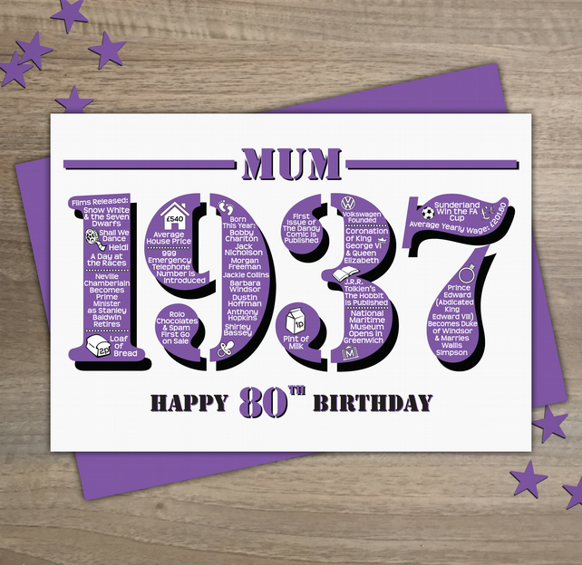 Happy 80th Birthday Mum Year of Birth Greetings Card - Born in 1937 - Facts A5