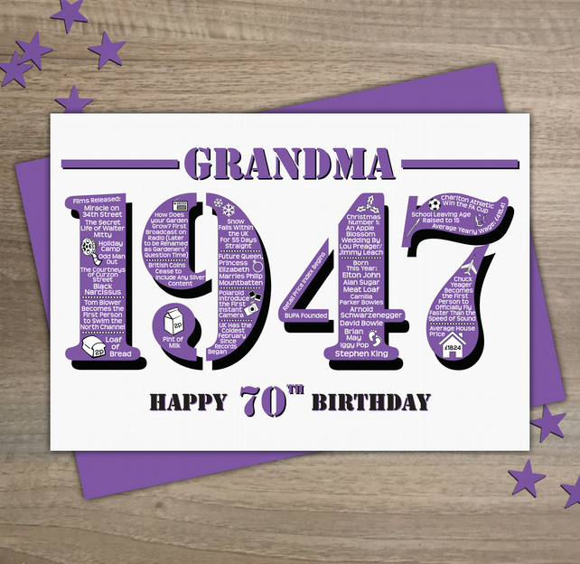 Happy 70th birthday grandma year of birth greet folksy happy 70th birthday grandma year of birth greetings card born in 1947 facts bookmarktalkfo