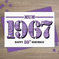 Happy 50th Birthday Mum Year of Birth Greetings Card - Born in 1967 - Facts A5