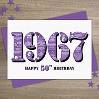 Happy 50th Birthday Womens Female Year of Birth Greetings Card - Born 1967 Facts