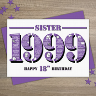 Happy 18th Birthday Sister Year of Birth Greetings Card - Born in 1999 - Facts