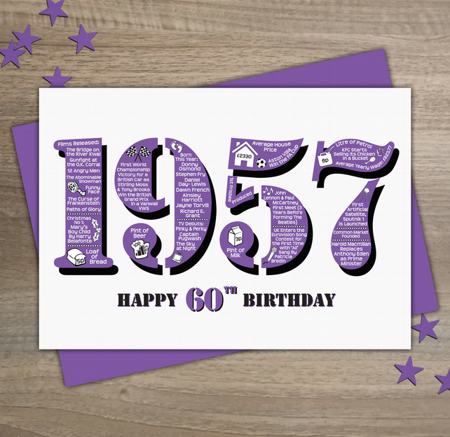 Happy 60th Birthday Female Womens Year of Birth Greetings Card - Born 1957 Facts