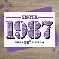 Happy 30th Birthday Sister Year of Birth Greetings Card - Born in 1987 - Facts