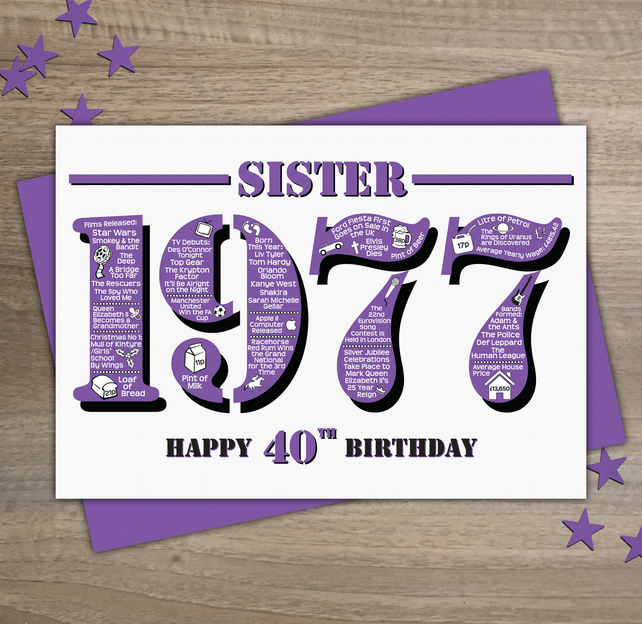 Happy 40th Birthday Sister Year Of Birth Greeti Folksy