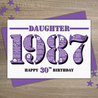 Happy 30th Birthday Daughter Year of Birth Greetings Card - Born in 1987 - Facts