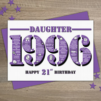Happy 21st Birthday Daughter Year of Birth Greetings Card - Born in 1996 - Facts
