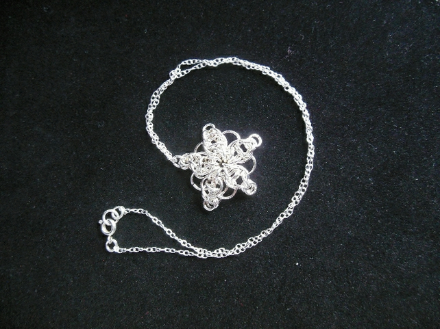 Chain mail snowflake pendant
